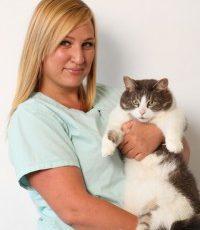 Julie Bagatavicius holding a cat