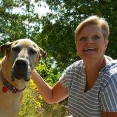 Lisa Richards with a dog